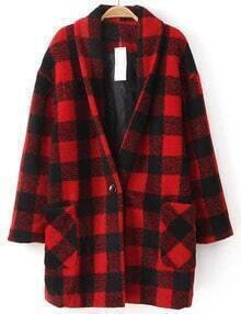 Plaid Oversized Red Outerwear