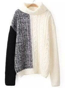 Colour-block High Neck Cable Knit Sweater-Black and White