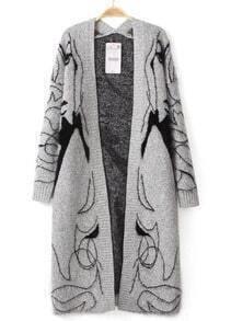 Girl Print Grey Cardigan Sweater