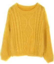 Split Cable Knit Yellow Sweater