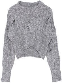 Hollow Crop Knit Grey Sweater