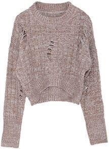 Hollow Crop Knit Khaki Sweater