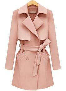 Belted Pockets Pink Trench Coat