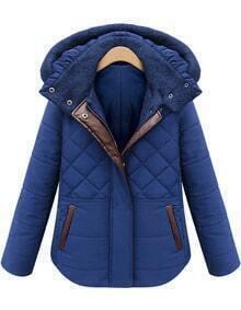Hooded Diamond Patterned Blue Coat