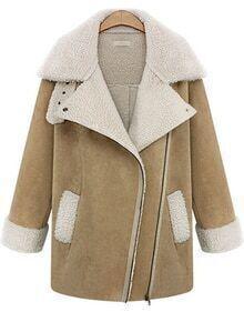 Pockets Lapel Fur Khaki Coat