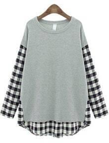 Contrast Plaid Loose Grey T-Shirt