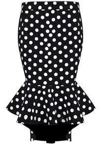Polka Dot Ruffle Asymmetrical Skirt-Black