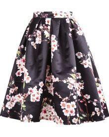 Floral Pleated Black Skirt