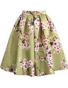 Floral Pleated Green Skirt