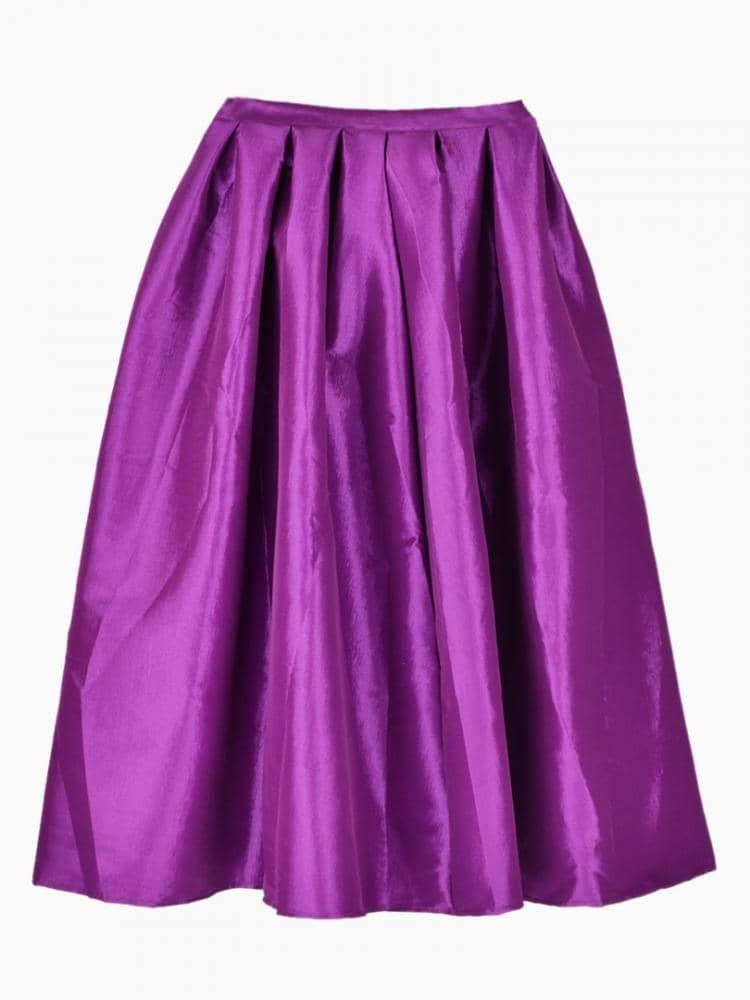flare pleated midi purple skirt