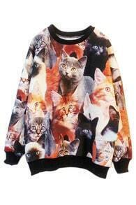 ROMWE Contrast Trimming Cats Print Sweatshirt