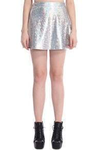 ROMWE Colorful Holographic Material Vinyl Skirt