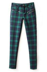 ROMWE Check Print Zippered Green Slim Pants