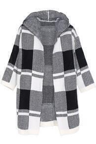 Block Plaid Hood Knitting Coat