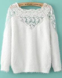 Contrast Hollow Lace Mohair White Sweater