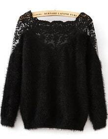 Contrast Hollow Lace Mohair Black Sweater