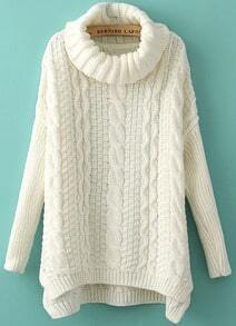 High Neck Loose Cable Knit White Sweater