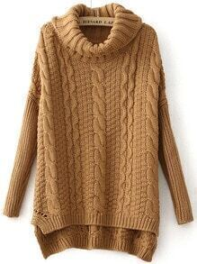 High Neck Loose Cable Knit Khaki Sweater