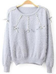 Beading Mohair Light Blue Sweater