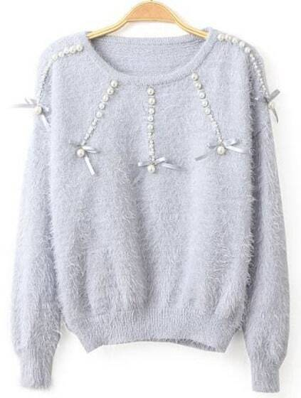 Beading Mohair Light Blue Sweater