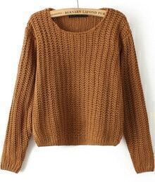 Round Neck Cable Knit Crop Khaki Sweater
