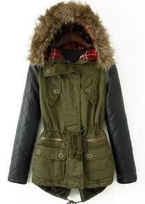 Contrast PU Hooded Pockets Loose Coat