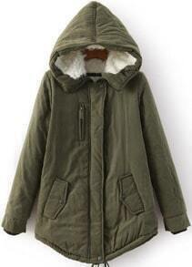 Hooded Zipper Loose Army Green Coat