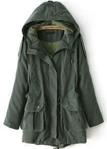 Pocketed Loose Drawstring Army Green Coat