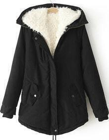 Hooded Zipper Loose Black Coat