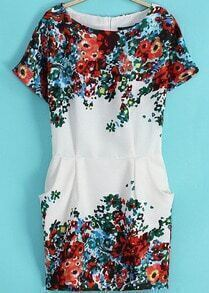 Short Sleeve Pockets Floral Print Dress
