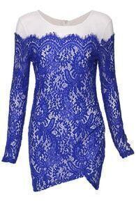 Eyelash Lace Overall Asymmetric Hem Dress