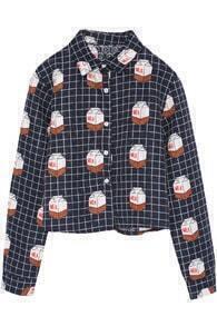 Plaid Milk Cartons Print Crop Navy Shirt