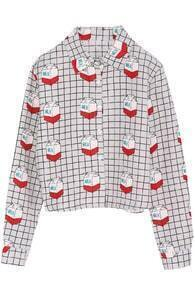 Plaid Milk Cartons Print Crop Grey Shirt