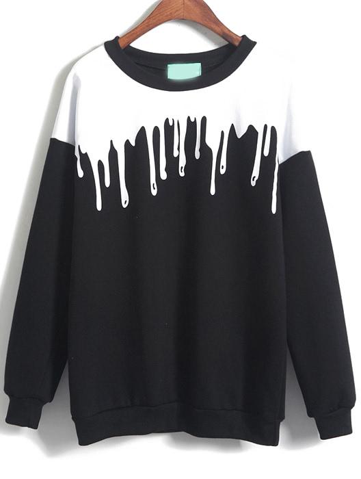 Color block loose black sweatshirtfor women romwe for Black sweater white shirt
