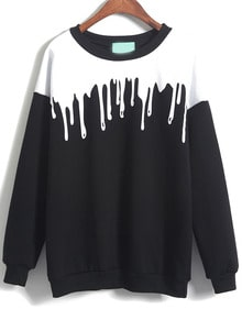 Color Block Loose Black Sweatshirt