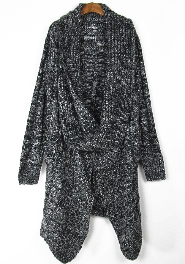 Loose Knit Shawl Pattern : Shawl Collar Loose Knit Black Sweater