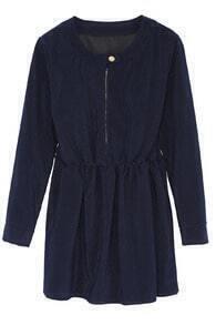 Zipper Placket Elastic Waist Navy Dress