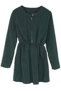Zipper Placket Elastic Waist Green Dress