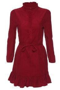 Ruched Neckline Belt Ruffle Hem Red Dress