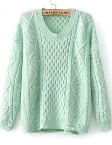 Diamond Patterned Knit Green Sweater