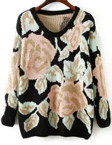 Rose Pattern Knit Sweater