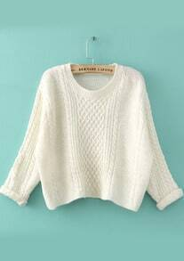 Cable Knit Crop White Sweater