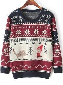 Cartoon Print Knit Sweater