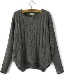 Loose Cable Knit Crop Sweater