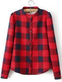 Stand Collar Plaid Blouse