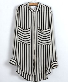 Vertical Stripe Pockets Chiffon Blouse
