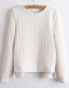 Zipper Jacquard White Sweatshirt