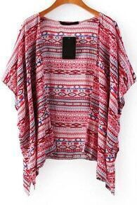 Tribal Print Red Cardigan Blouse
