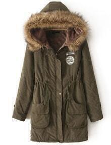 Faux Fur Hooded Drawstring Pockets Coat