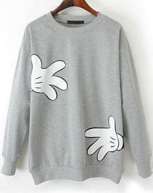 Gloves Print Loose Sweatshirt